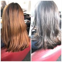 セミロング 透明感カラー 圧倒的透明感 透明感 ヘアスタイルや髪型の写真・画像