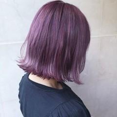 ハイトーン ブリーチ アッシュ パープル ヘアスタイルや髪型の写真・画像