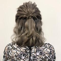 波ウェーブ ハーフアップ フェミニン デート ヘアスタイルや髪型の写真・画像