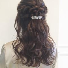 パーティ 結婚式 フェミニン ヘアアレンジ ヘアスタイルや髪型の写真・画像