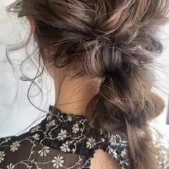 ヘアセット ヘアアレンジ 簡単ヘアアレンジ セミロング ヘアスタイルや髪型の写真・画像
