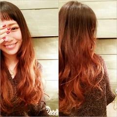 ゆるふわ ロング グラデーションカラー ガーリー ヘアスタイルや髪型の写真・画像