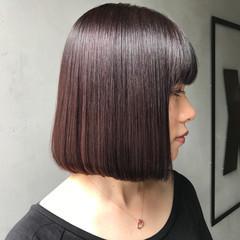 ワンレングス 切りっぱなし 暗髪 ボブ ヘアスタイルや髪型の写真・画像