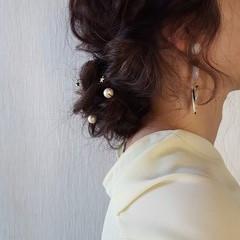 ヘアアレンジ フェミニン セミロング 夏 ヘアスタイルや髪型の写真・画像