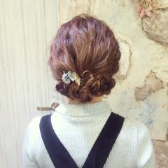 ロング セルフヘアアレンジ 波ウェーブ ヘアアレンジ ヘアスタイルや髪型の写真・画像