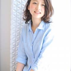 大人かわいい モテ髪 ミディアム コンサバ ヘアスタイルや髪型の写真・画像