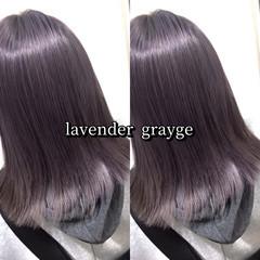 セミロング ストリート ラベンダー ヘアカラー ヘアスタイルや髪型の写真・画像