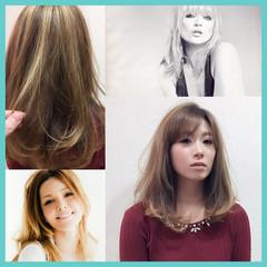 カラーバター セミロング レイヤーカット ハイライト ヘアスタイルや髪型の写真・画像