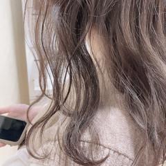 髪質改善 髪質改善カラー セミロング ミルクティーベージュ ヘアスタイルや髪型の写真・画像