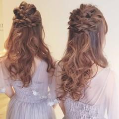 結婚式 フェミニン ロング 結婚式アレンジ ヘアスタイルや髪型の写真・画像