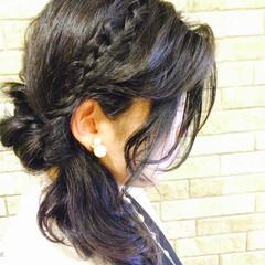 セミロング くるりんぱ ヘアアレンジ 黒髪 ヘアスタイルや髪型の写真・画像