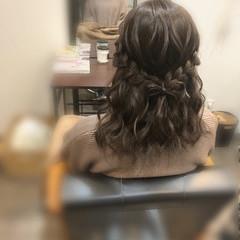 ガーリー 編み込み 編み込みヘア ミディアム ヘアスタイルや髪型の写真・画像