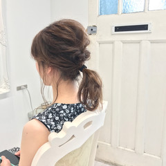ポニーテール ナチュラル ヘアアレンジ ミディアム ヘアスタイルや髪型の写真・画像