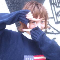 外国人風 パーマ ボブ 外ハネ ヘアスタイルや髪型の写真・画像