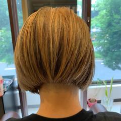 ハイライト 白髪染め 切りっぱなしボブ 極細ハイライト ヘアスタイルや髪型の写真・画像
