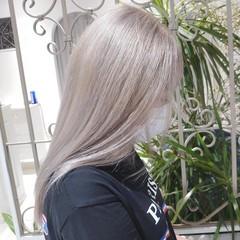 ハイトーンカラー ミルクティー ホワイトシルバー セミロング ヘアスタイルや髪型の写真・画像