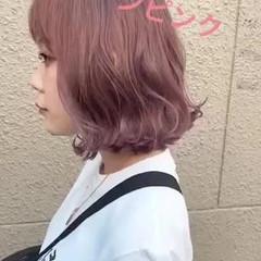 ピンク ウェットヘア ボブ ブリーチ ヘアスタイルや髪型の写真・画像