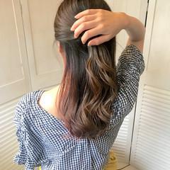 インナーカラー ガーリー セミロング ピンク ヘアスタイルや髪型の写真・画像