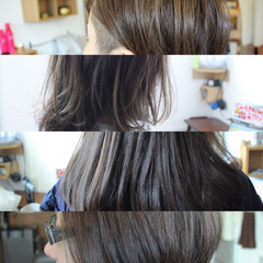 アッシュ ナチュラル ハイライト ミディアム ヘアスタイルや髪型の写真・画像