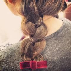 オレンジ 三つ編み ヘアアレンジ モテ髪 ヘアスタイルや髪型の写真・画像