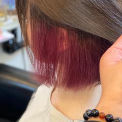 ベリーピンク ピンクラベンダー インナーカラー ボブ ヘアスタイルや髪型の写真・画像