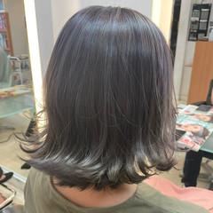 切りっぱなしボブ ミディアム 透明感カラー ダブルカラー ヘアスタイルや髪型の写真・画像