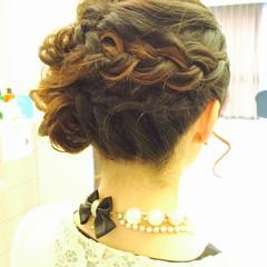 結婚式 編み込み ヘアアレンジ 大人かわいい ヘアスタイルや髪型の写真・画像