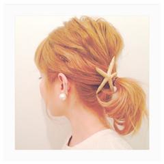 ヘアアレンジ ハイトーン ボブ ショート ヘアスタイルや髪型の写真・画像