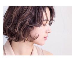 パーマ ボブ ニュアンス カール ヘアスタイルや髪型の写真・画像