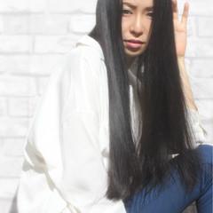 ストレート コンサバ 黒髪 アッシュ ヘアスタイルや髪型の写真・画像
