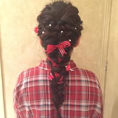 ロング ヘアアレンジ フィッシュボーン アッシュ ヘアスタイルや髪型の写真・画像