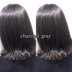 ヘアカラー グレー グレーアッシュ ナチュラル ヘアスタイルや髪型の写真・画像