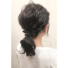 ゆるふわ 簡単ヘアアレンジ 夏 暗髪 ヘアスタイルや髪型の写真・画像