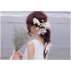 色気 フェミニン セミロング 簡単ヘアアレンジ ヘアスタイルや髪型の写真・画像
