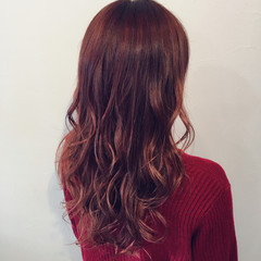 ロング ピンク デート 女子会 ヘアスタイルや髪型の写真・画像