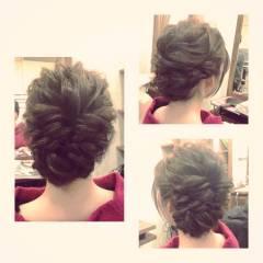 結婚式 ヘアアレンジ くるりんぱ ロープ編み ヘアスタイルや髪型の写真・画像