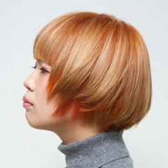 モード オレンジ ショート マッシュ ヘアスタイルや髪型の写真・画像