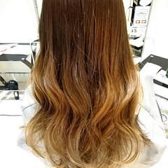 ロング グラデーションカラー 外国人風 グレージュ ヘアスタイルや髪型の写真・画像