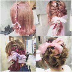 ゆるふわ ミディアム ヘアアレンジ シースルーバング ヘアスタイルや髪型の写真・画像