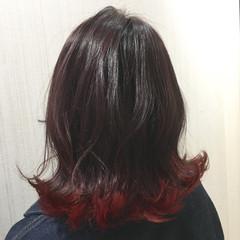 透明感 外ハネ レッド かわいい ヘアスタイルや髪型の写真・画像