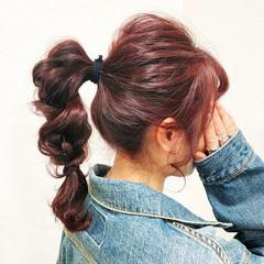 ポニーテールアレンジ 簡単ヘアアレンジ ヘアアレンジ セルフヘアアレンジ ヘアスタイルや髪型の写真・画像