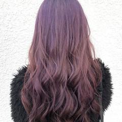 ロング パープル 外国人風カラー ピンク ヘアスタイルや髪型の写真・画像
