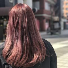 パープル セミロング ピンク ラベンダーピンク ヘアスタイルや髪型の写真・画像