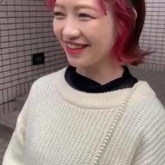 インナーピンク 前髪インナーカラー ピンク ナチュラル ヘアスタイルや髪型の写真・画像