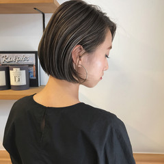 ショートボブ 秋 ボブ ハイライト ヘアスタイルや髪型の写真・画像