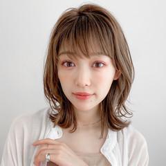 ミディアム 大人かわいい ウルフカット デジタルパーマ ヘアスタイルや髪型の写真・画像