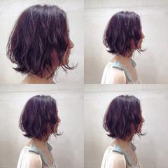 ボブ パーマ ウェットヘア 大人かわいい ヘアスタイルや髪型の写真・画像