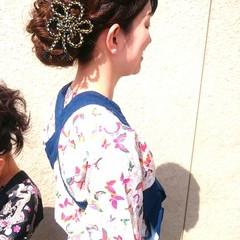 ロング 夜会巻 着物 和装 ヘアスタイルや髪型の写真・画像
