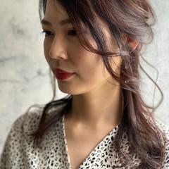 ポニーアレンジ 切りっぱなしボブ 編みおろしヘア ナチュラル ヘアスタイルや髪型の写真・画像