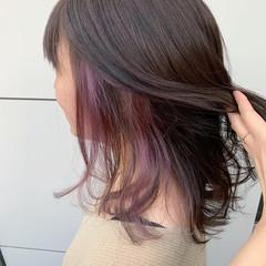 ミディアム ハイトーン インナーカラー ダブルカラー ヘアスタイルや髪型の写真・画像
